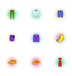 Different clothes icons set pop-art style vector