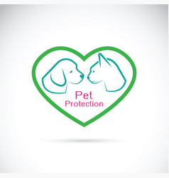 Dog and cat in the heart on white background vector