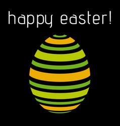 Easter greeting - pastel green orange striped egg vector