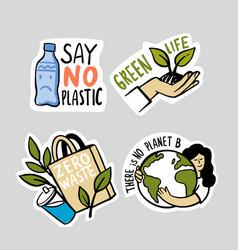 ecologic labels eco safe emblems green safe vector image