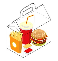 Fast food box Packing for breakfast French fries vector image