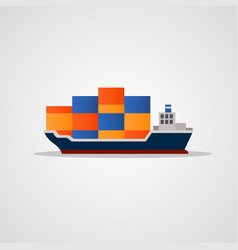flat colored loaded container ship vector image