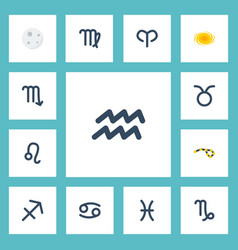 Flat icons space crab horoscope and other vector