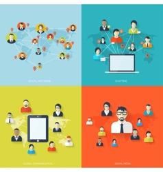 Flat set of social media backgrounds Social vector