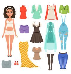 flat set women s clothes items stylish vector image
