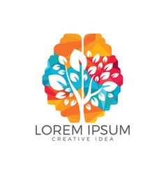 green brain tree logo design vector image