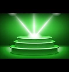 Green Illuminated stage podium for award ceremony vector