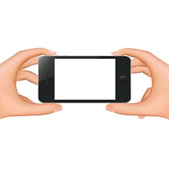 Hands Holding Phone Banner vector image