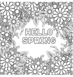 Hello spring coloring page vector
