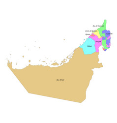 High quality labeled map united arab emirates vector