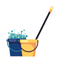 Housekepping buckets tools with mop vector