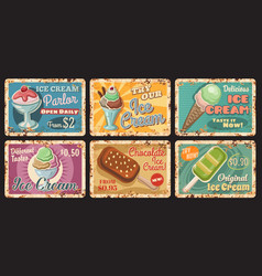 ice cream parlour dessert menu rusty metal plate vector image