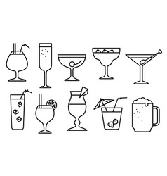 icon set with alcohol cocktails thin simple line vector image