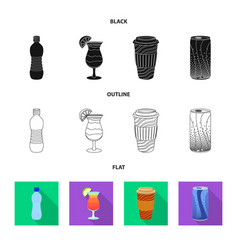 isolated object of drink and bar sign set of vector image