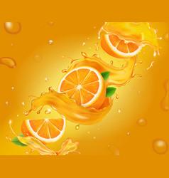 Juicy orange background with slices oranges vector