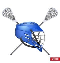 Lacrosse helmet and sticks vector