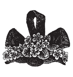 ladys hat is small flowers scattered vintage vector image