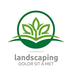 Leaves landscaping abstract logo ecology design vector
