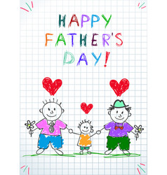 Lgbt family two men with adopted boy gay couple vector
