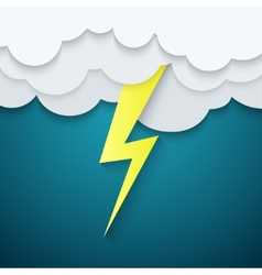 lightning in clouds on a blue background vector image
