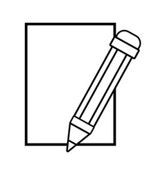 Line cardboard object with pencil utensil design vector