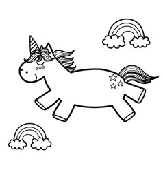 magic unicorn and rainbows coloring page fantasy vector image