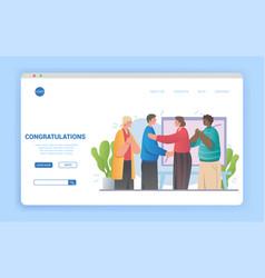 Multiethnic people congratulate colleague vector