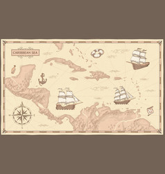 Old caribbean sea map ancient pirate routes vector