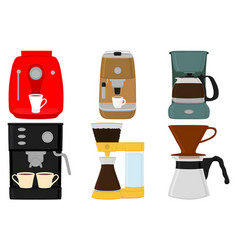 On theme big colored set different types coffee vector