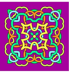 Ornamental square mandala on purple background vector image