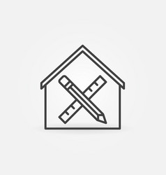 Pencil and ruler inside house linear icon vector