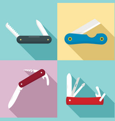 Penknife icons set flat style vector