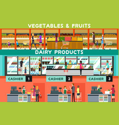 people shopping in a grocery store vector image