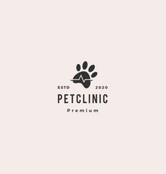 Pet paw clinic health logo vintage hipster retro vector