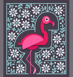 Pink flamingo in paper cut style with border vector