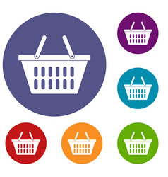 Plastic shopping basket icons set vector