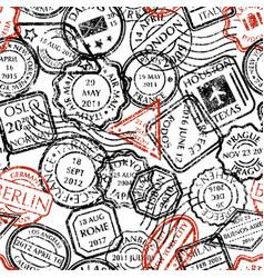 Postal stamps pattern vector