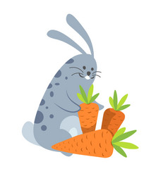 rabbit smiling happy to be with carrot vector image