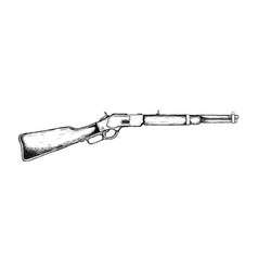 Riffle long for wild west icon sketch hand drawn vector