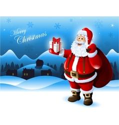 Santa Claus holding a gift box greeting card vector