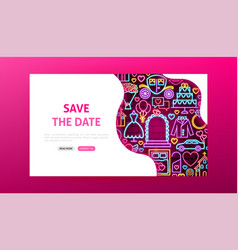 Save date neon landing page vector