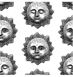 Seamless pattern smiling and sleeping suns vector
