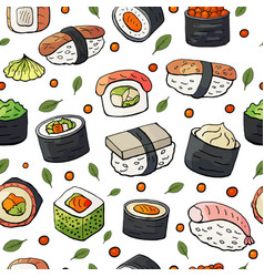 seamless pattern with japan sushi isolated on vector image