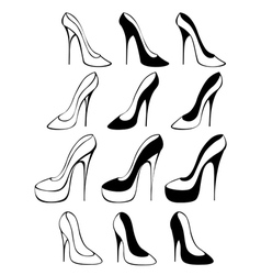 Silhouettes shoes vector