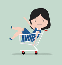 small girl sitting in shopping cart vector image