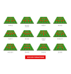 Soccer formations collection isolated on white vector