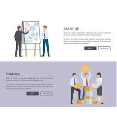 start up and finance web on vector image