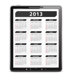 Tablet computer with 2013 calendar vector