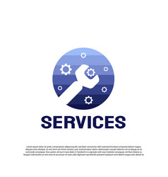Technology service logo with colorful wrench vector