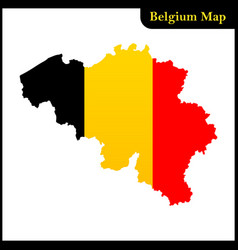 The detailed map of the belgium with national flag vector
